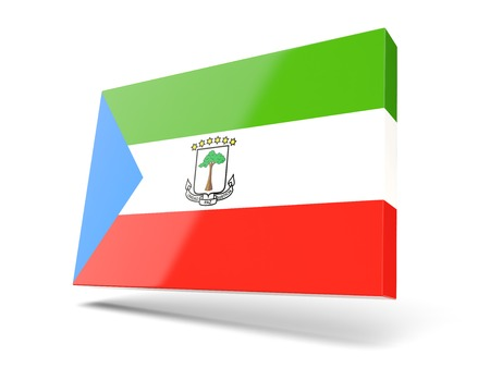 equatorial guinea: Square icon with flag of equatorial guinea isolated on white