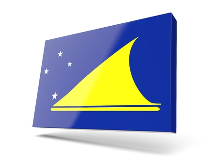 tokelau: Square icon with flag of tokelau isolated on white