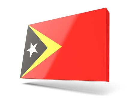 timor: Square icon with flag of east timor isolated on white