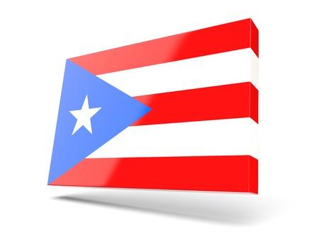 bandera de puerto rico: icono cuadrado con la bandera de Puerto Rico aislado en blanco