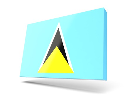 saint lucia: Square icon with flag of saint lucia isolated on white Stock Photo