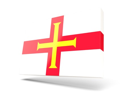guernsey: Square icon with flag of guernsey isolated on white