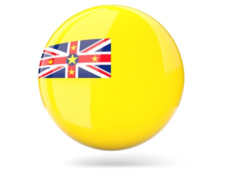 niue: Glossy round icon with flag of niue Stock Photo