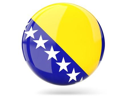 bosnia and herzegovina flag: Glossy round icon with flag of bosnia and herzegovina