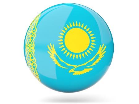 Glossy round icon with flag of kazakhstan Reklamní fotografie