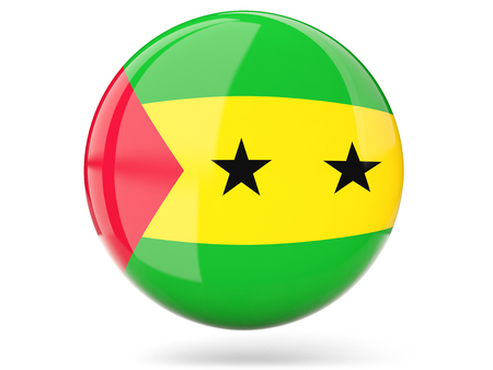 tome: Glossy round icon with flag of sao tome and principe