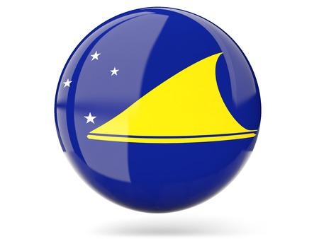 tokelau: Glossy round icon with flag of tokelau