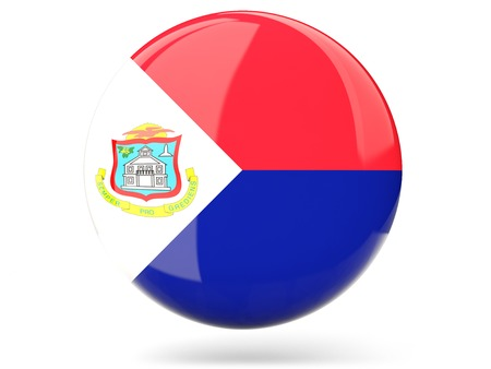 sint: Glossy round icon with flag of sint maarten