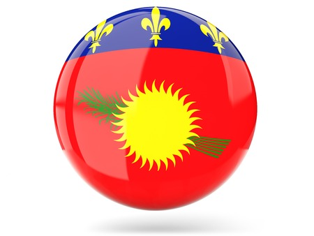 guadeloupe: Glossy round icon with flag of guadeloupe