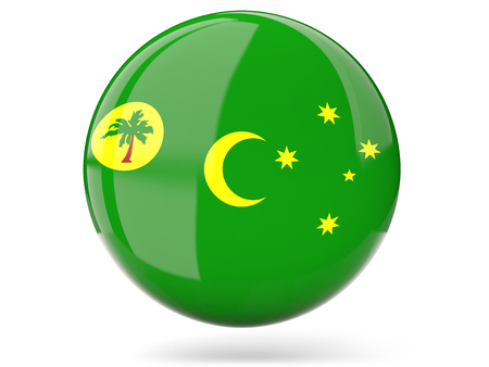 cocos: Glossy round icon with flag of cocos islands