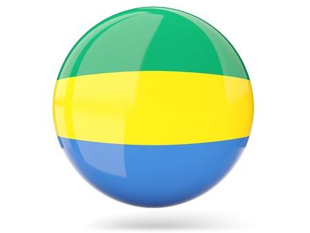 gabon: Glossy round icon with flag of gabon