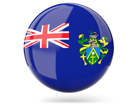 pitcairn: Glossy round icon with flag of pitcairn islands