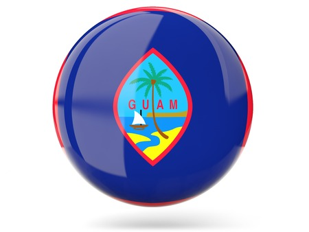 guam: Glossy round icon with flag of guam