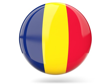 Glossy round icon with flag of chad