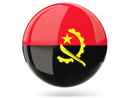 angola: Glossy round icon with flag of angola