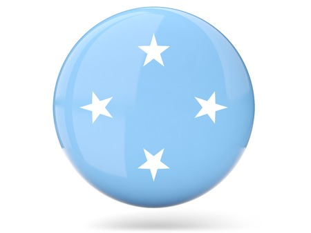 micronesia: Glossy round icon with flag of micronesia