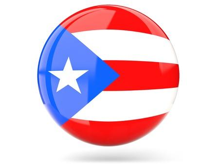 bandera de puerto rico: Icono de brillante redonda con la bandera de Puerto Rico