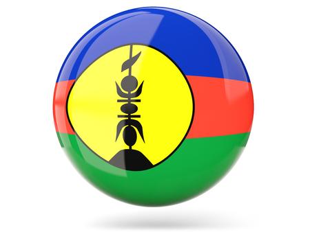 new caledonia: Glossy round icon with flag of new caledonia Stock Photo