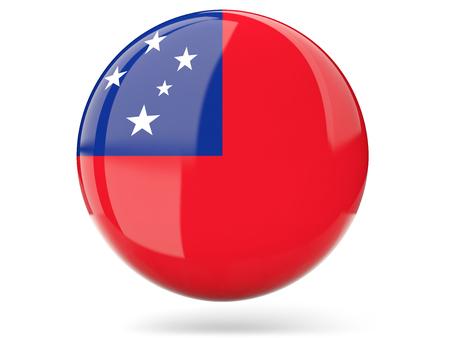 samoa: Glossy round icon with flag of samoa Stock Photo