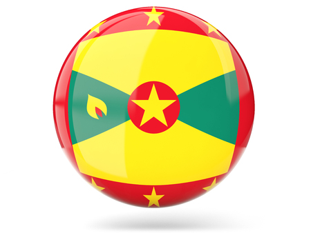 grenada: Glossy round icon with flag of grenada Stock Photo