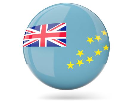 tuvalu: Glossy round icon with flag of tuvalu
