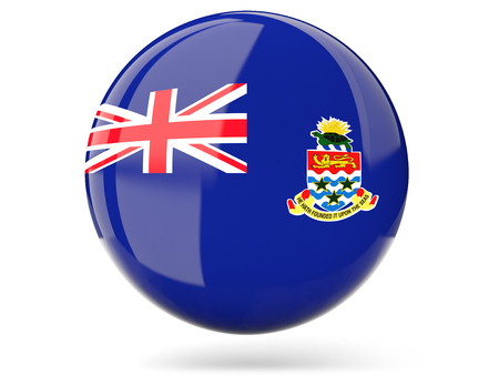cayman islands: Glossy round icon with flag of cayman islands