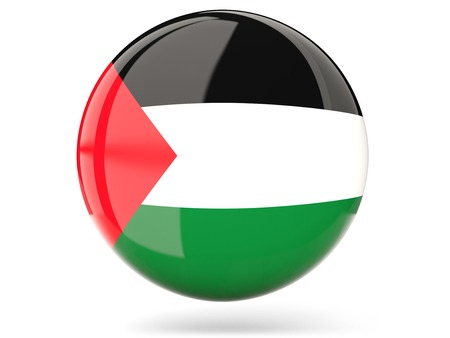 palestinian: Glossy round icon with flag of palestinian territory