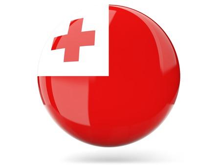 tonga: Glossy round icon with flag of tonga