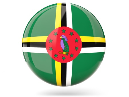 dominica: Glossy round icon with flag of dominica Stock Photo