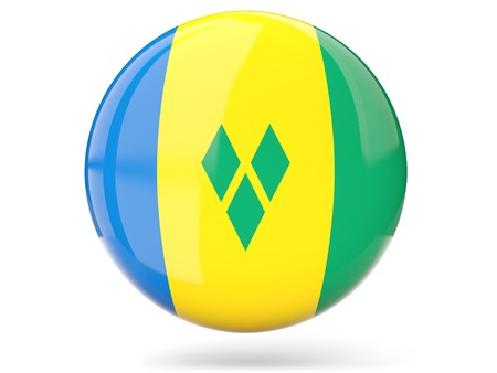 grenadines: Glossy round icon with flag of saint vincent and the grenadines