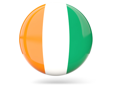 cote ivoire: Glossy round icon with flag of cote d Ivoire