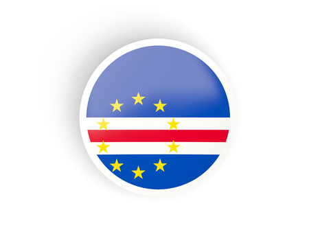cape verde: Round sticker with flag of cape verde isolated on white Stock Photo