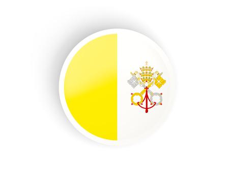 ciudad del vaticano: Round sticker with flag of vatican city isolated on white Foto de archivo