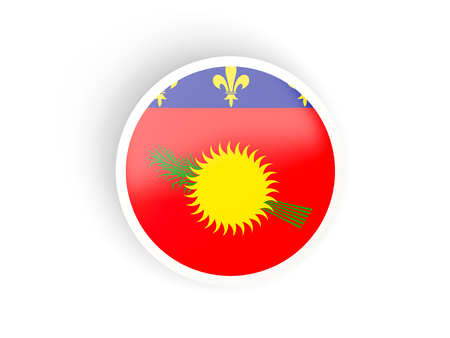 guadeloupe: Round sticker with flag of guadeloupe isolated on white Stock Photo