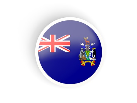 south georgia: Round sticker with flag of south georgia and the south sandwich islands isolated on white