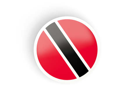 national flag trinidad and tobago: Round sticker with flag of trinidad and tobago isolated on white