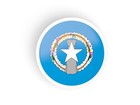 mariana: Round sticker with flag of northern mariana islands isolated on white Stock Photo