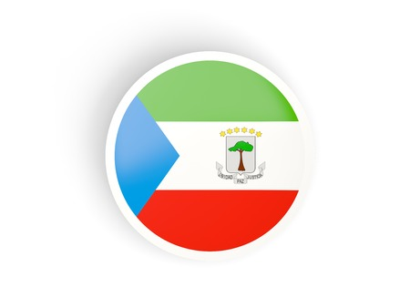 equatorial guinea: Round sticker with flag of equatorial guinea isolated on white Stock Photo