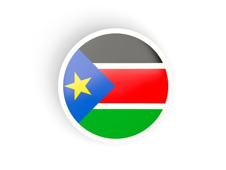 south sudan: Round sticker with flag of south sudan isolated on white