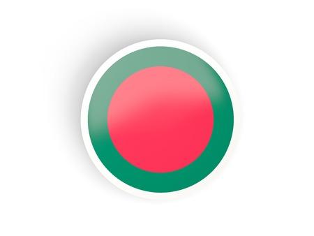 national flag bangladesh: Round sticker with flag of bangladesh isolated on white