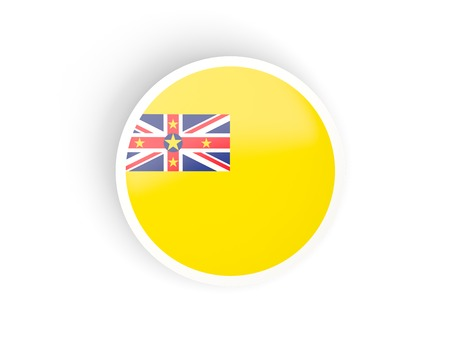 niue: Round sticker with flag of niue isolated on white