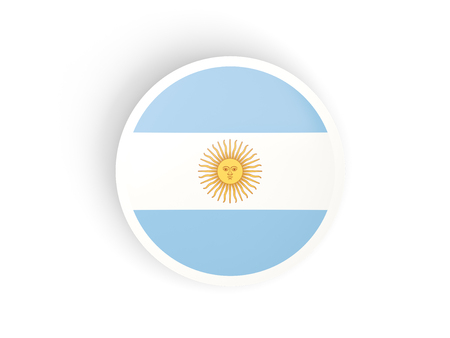 Round sticker with flag of argentina isolated on white photo