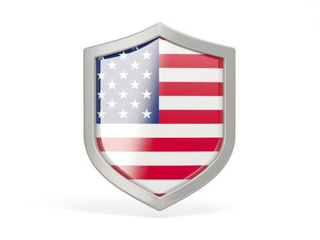 shield: Icono del escudo con la bandera de los estados unidos de am�rica aislada en blanco