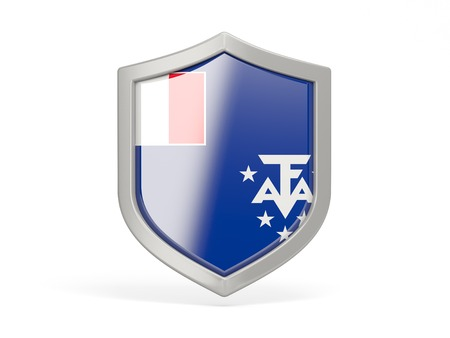 territories: Shield icon with flag of french southern territories isolated on white Stock Photo