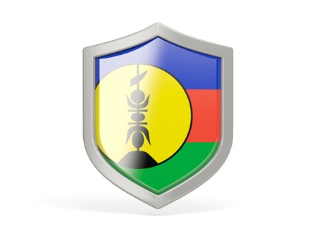 new caledonia: Shield icon with flag of new caledonia isolated on white