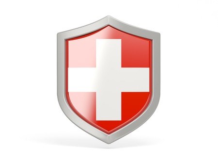 3d shield: Shield icon with flag of switzerland isolated on white