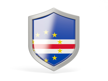cape verde: Shield icon with flag of cape verde isolated on white