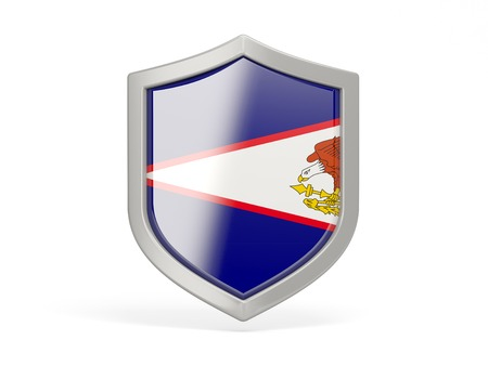 samoa: Shield icon with flag of american samoa isolated on white Stock Photo