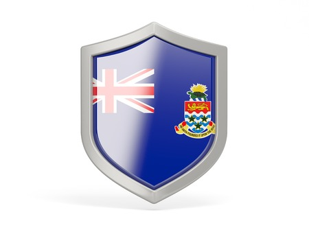cayman islands: Shield icon with flag of cayman islands isolated on white