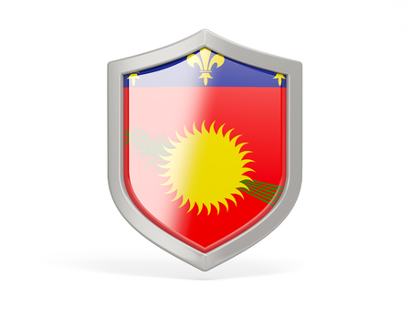 guadeloupe: Shield icon with flag of guadeloupe isolated on white